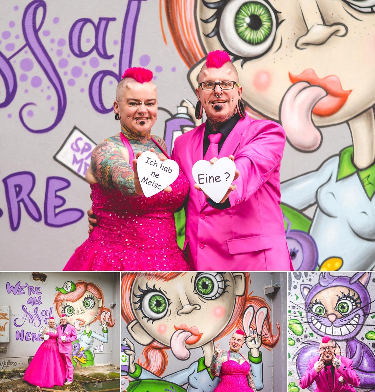Hochzeitsfotos Freital After Wedding Industriegelände Brautpaar in pink
