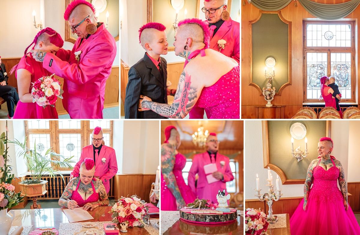 Hochzeitsfotos Freital Brautpaar in pink bei der Trauung