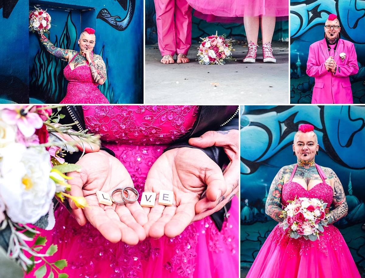 Hochzeitsfotos Freital After Wedding Industriegelände Brautpaar in pink Eheringe