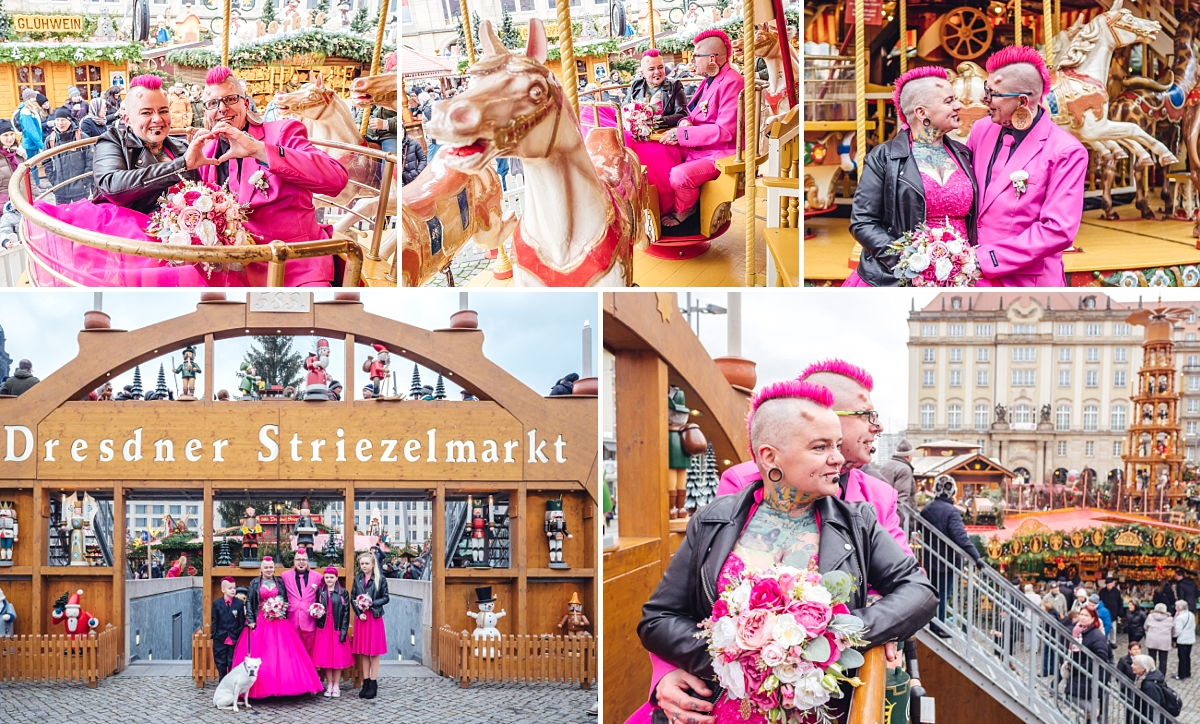 Hochzeitsfotos Dresden Weihnachtsmarkt Striezelmarkt Brautpaar in pink auf Karussell