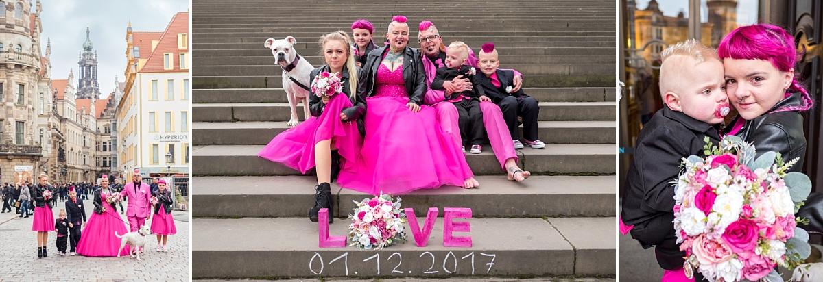 Hochzeitsfotos Dresden Brühlsche Terrasse Familienbild Hochzeitspaar in pink