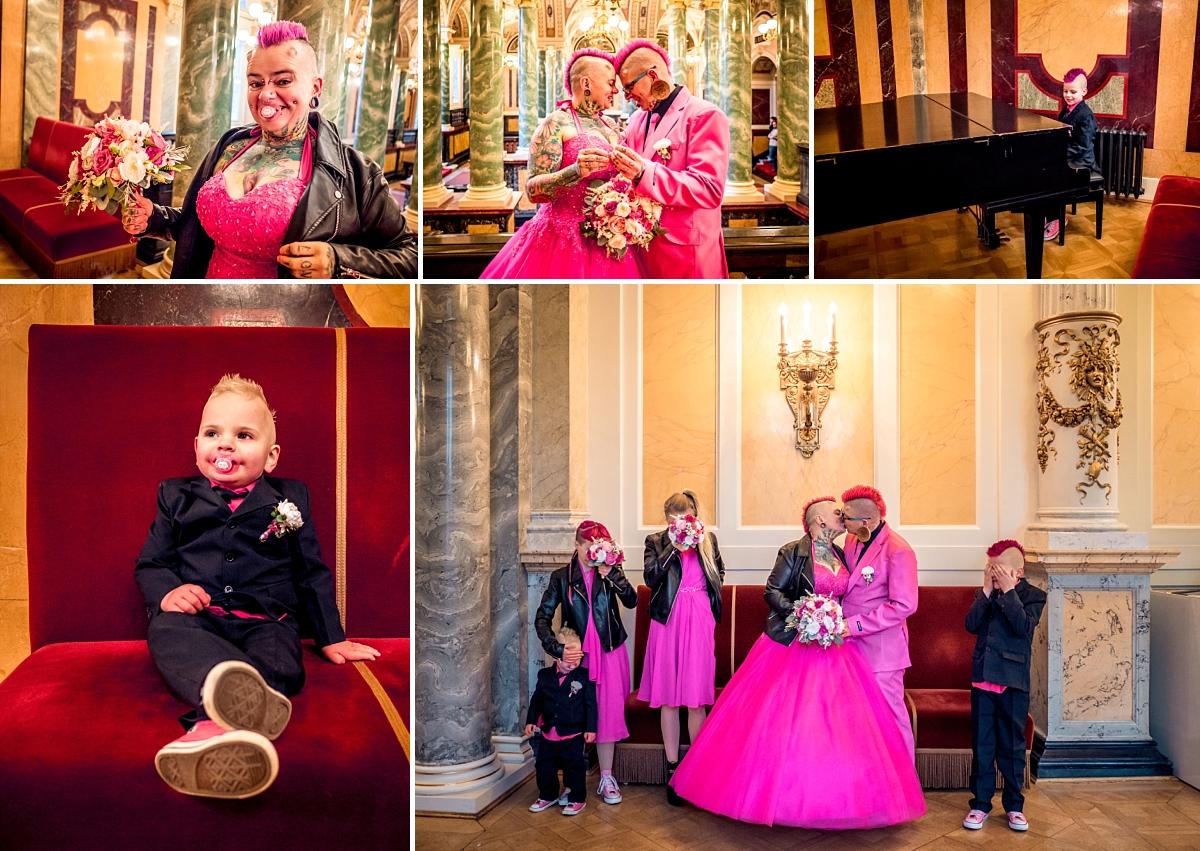 Hochzeitsfotos Dresden Semper Oper Brautpaar in pink